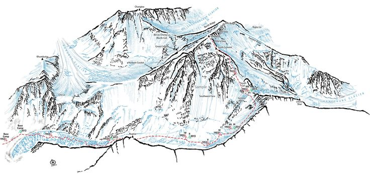Everest print available from my #etsy shop: Mount Everest showing the South Col route. Line illustration showing all the key landmarks and locations of camps. #art #print #everestmap #mounteverest #highestpeak #southcol