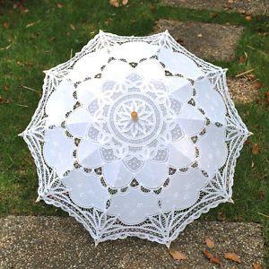 New Multiple Battenburg Lace Cotton Embroidery Wedding Umbrella Bridal Parasol | eBay