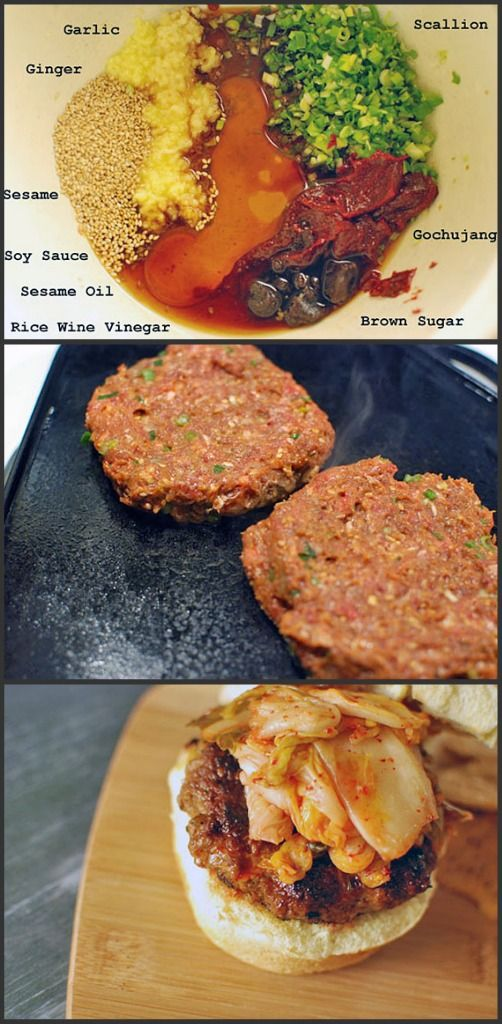 BULGOGI BURGER ~ Burger patties loaded with Korean flavors. Bulgogi marinade is simple to make, very flavorful, & super versatile. ~ Ingredients: 1½ lb ground beef, ¼ C sesame seed, 3 Tb soy sauce, 2 Tb gochujang, 2 Tb sesame oil, 5 scallions chopped, 5 cloves garlic grated, 2 Tb grated ginger, 2 Tb rice wine vinegar, 1 Tb brown sugar, 6 burger buns, 14 oz kimchi ~ Note: Gochujang is a savory & pungent fermented Korean condiment made from red chili, glutinous rice, fermented soybeans & salt.