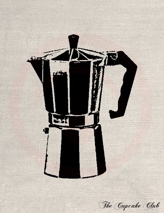Clip Art Designs Transfer Digital File Vintage Download Old Italian Coffee maker No. 0022