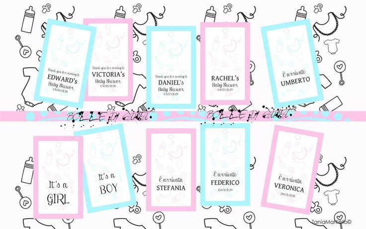 Etichette Stampabili Nascita o Baby Shower Personalizzabili con Nome e Data-Tag-Bomboniera-Rosa-Azzurro-Festa-Bambino-Bambina-Party-Pacco di BolleDiCarta su Etsy