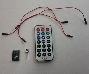 It is really easy to control an Arduino using an infrared remote. There is one particular remote that is available from multiple sources and is really quite cheap, they look and operate in a very similar way. NEOMART Raspberry Pi HX1838 Infrared Remote Control Ir Receiver Module DIY Kit.  Amazon Kootek Raspberry Pi Infrared Remote Control Ir Receiver Module DIY Kit. Amazon KIT,IR REMOTE,IR RECIVER,ARDUI,COMPATIBLE  Jameco The problem is that documentation seems to be scarce ...