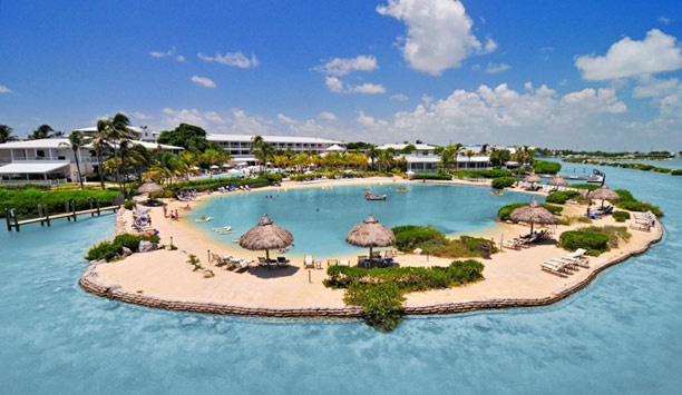 Hawks Cay Resort & Marina: The property has a private saltwater lagoon surrounded by a beach.