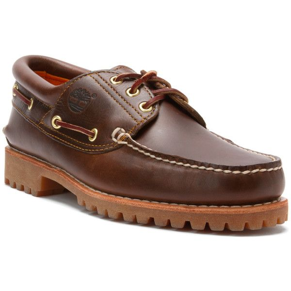 Timberland Men's Authentics 3 Eye Classic Lug Athletic Boating Shoes... ($120) ❤ liked on Polyvore featuring men's fashion, men's shoes, men's loafers, brown pull up, shoes, mens shoes, mens brown shoes, mens boat shoes, mens deck shoes and sperry top sider mens shoes