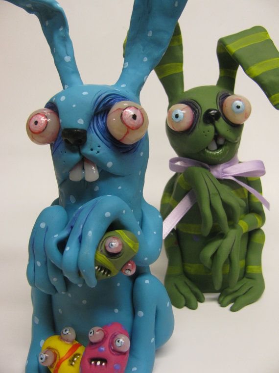 lowbrow ooak creepy art doll zombie Bunny Rabbit by mealymonster, $45.00