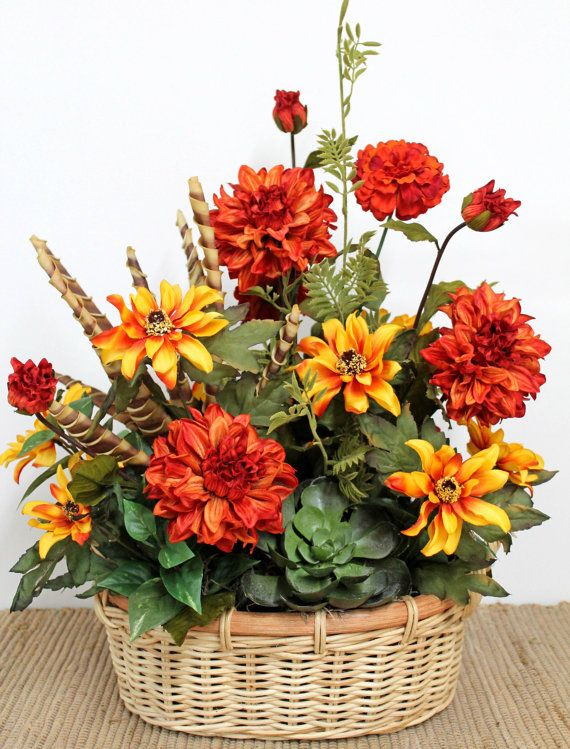Wicker Basket of Fall Flowers, Fall Centerpiece, Free Shipping
