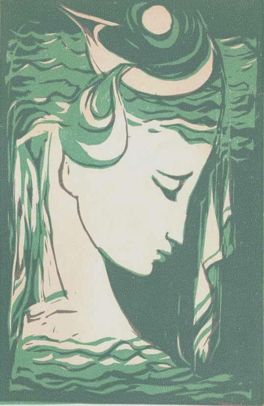 """Ludmila Jiřincová, """"Head of a Girl in Green"""", linocut."""