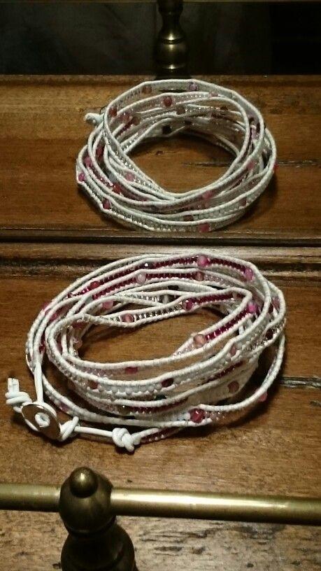 Leather, toho beads and  agate