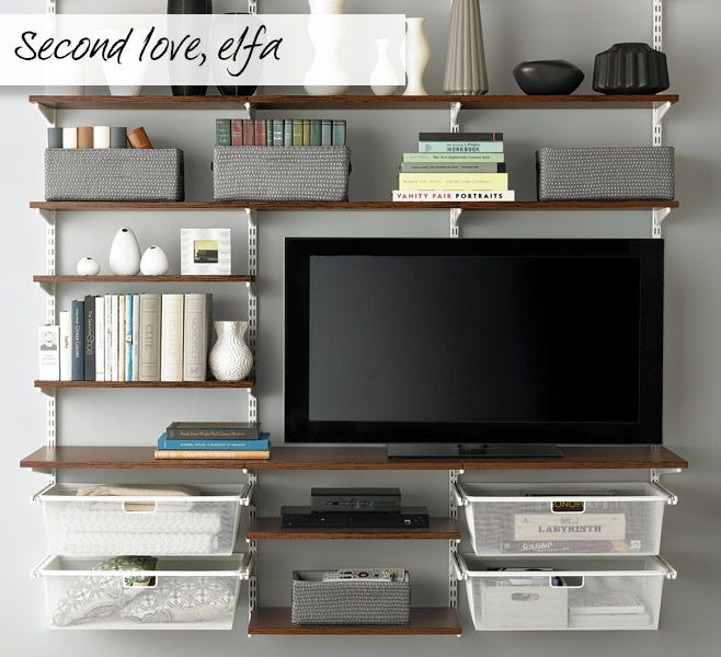 The Container Store Elfa Dcor Freestanding Entertainment Wall