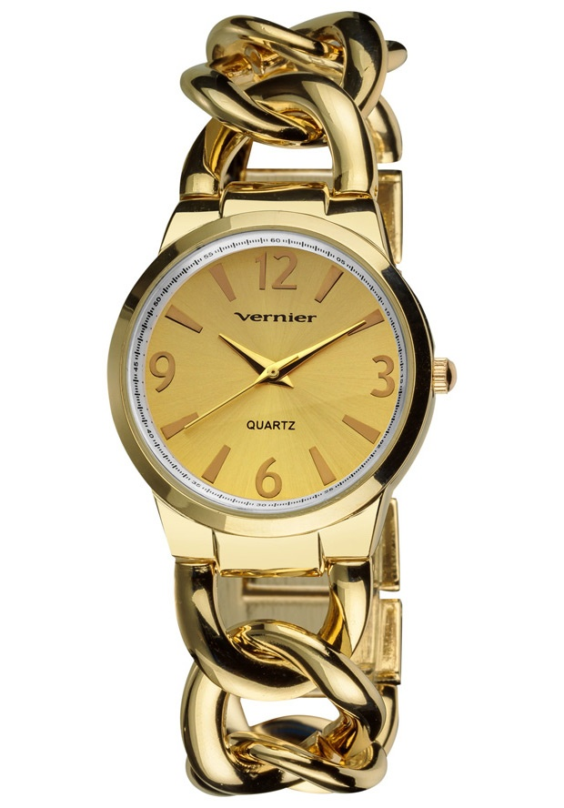 Price:$29.00 #watches Vernier VNR11081YG, This watch has a simple, medium sized, easy to read dial, with Arabic Numerals at 12, 3, 6, and 9 and reliable Quartz movement. The Bracelet features oversized links that makes the watch not only functional, but one can wear it as jewelry as well.