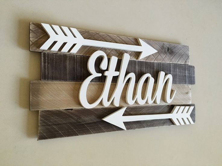 Nursery reclaimed wood name sign, Distressed nursery name, Rustic nursery decor, nursery arrows decor, Nursery wall decor, Nursery letters by RachelsWoodBarn on Etsy https://www.etsy.com/listing/488207517/nursery-reclaimed-wood-name-sign