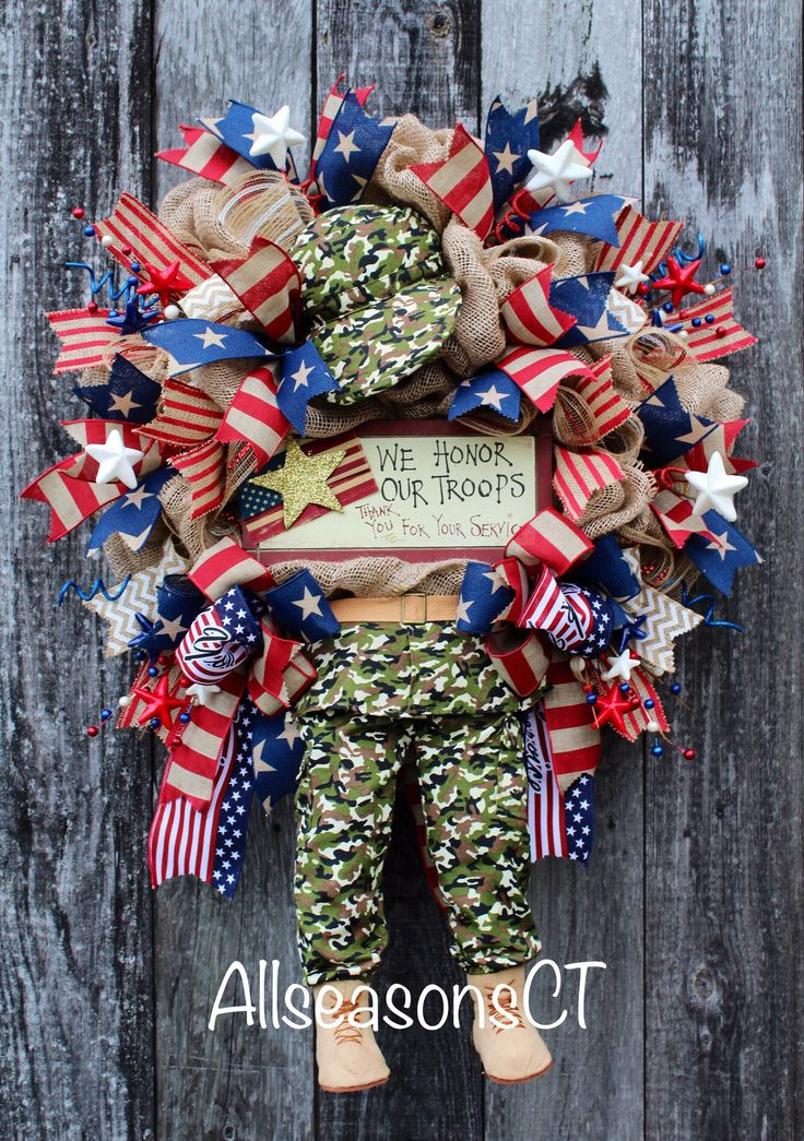 A personal favorite from my Etsy shop https://www.etsy.com/listing/521706336/honor-our-troops-burlap-deco-mesh-wreath