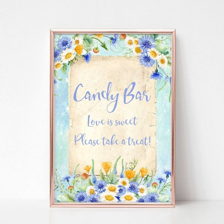 Candy Bar Wedding Sign, Shabby Chic Flower Venue Decoration, Sweet Table Sign
