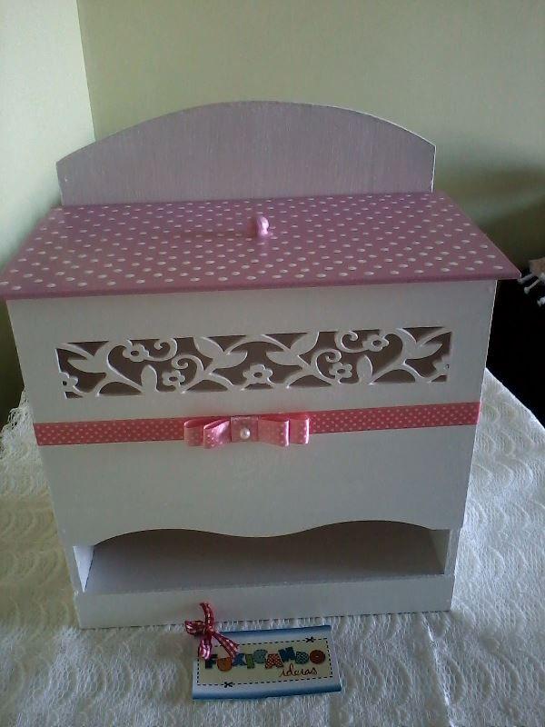Porta Fraldas - poá rosa