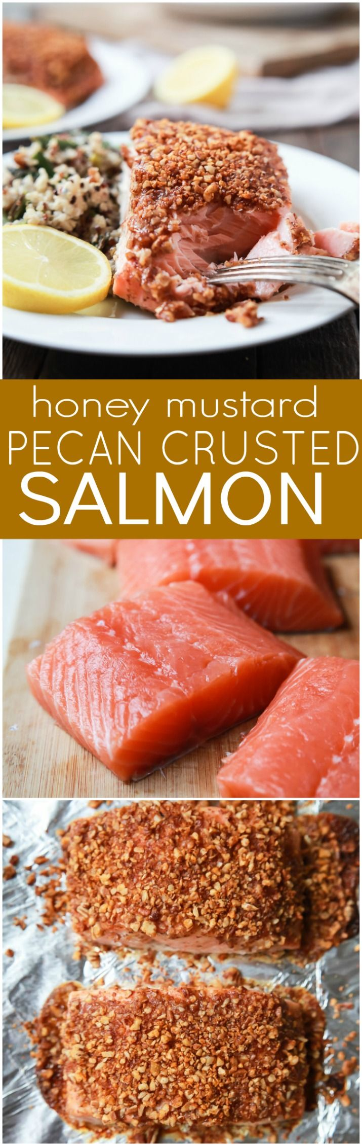 Impress your family or dinner guests with this easy Honey Mustard Pecan Crusted Salmon recipe. All you'll need is 5 ingredients and 15 minutes to make this dynamite meal! Dinner just got easier! | joyfulhealthyeats.com #paleo #glutenfree