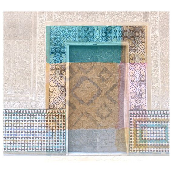 Photo collage alhambra mosaic fine art print by atelierartbook