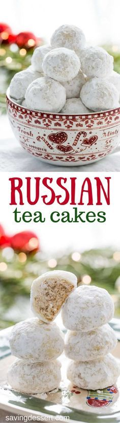 Russian Tea Cakes ~ also known as Mexican Wedding Cookies, Snowballs, or just plain Tea Cakes, are easy to make, crunchy sugar-dusted nut balls that are not too sweet, and melt-in-your mouth delicious! www.savingdessert.com #savingroomfordessert #russianteacakes #snowballcookies #snowballs #mexicanweddingcookies #teacakes