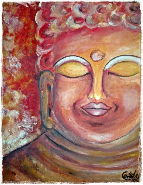 Acrylmalerei - Acrylbild Buddha Ruhe - ein Designerstück von HOAMELIGundSCHEAN bei DaWanda
