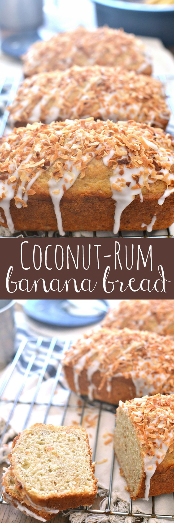 This Coconut-Rum Banana Bread starts with the BEST banana bread recipe and combines it with the delicious flavors of toasted coconut and real rum! A fun twist on a classic - perfect for breakfast, snack time, or even dessert!