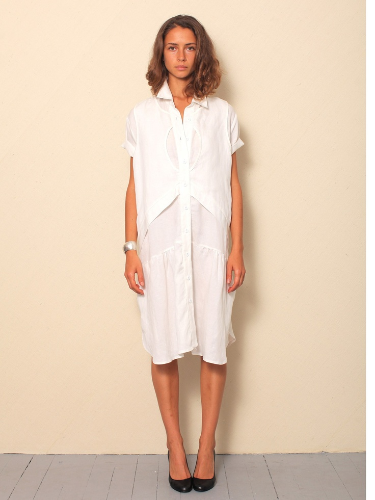 Built by Wendy   White Summer Dress with sleeves