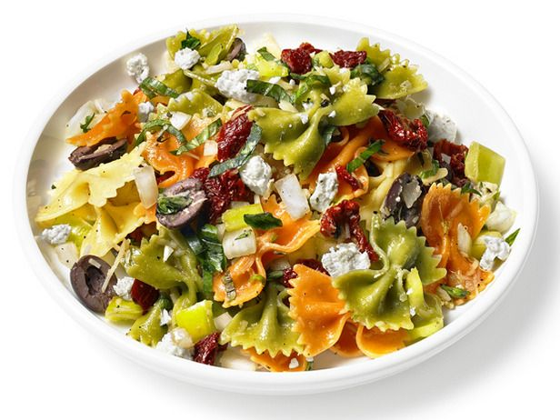 Mediterranean Pasta Salad    This cheerful salad uses tricolor bowtie pasta and a slew of fresh Mediterranean ingredients — feta, oregano and black olives, to name a few — for a side dish bursting with bright flavor.