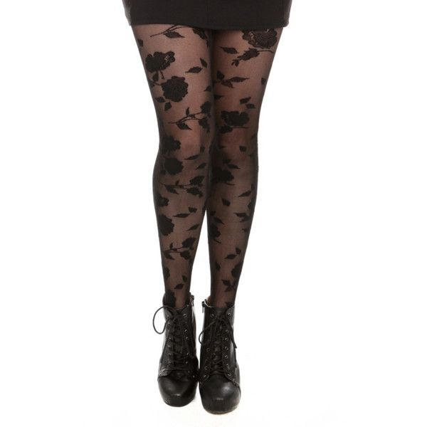 Black Rose Print Tights | Hot Topic ($6.47) ❤ liked on Polyvore featuring intimates, hosiery, tights, black pantyhose, black tights, black hosiery and black stockings
