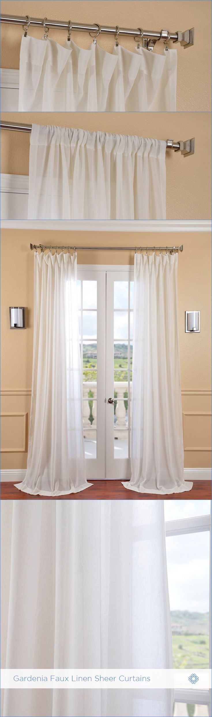 Linen window treatments - Shop Now Sheer Curtain Panels Gardenia Faux Linen Sheer Curtains Are Classic And Unmatched In