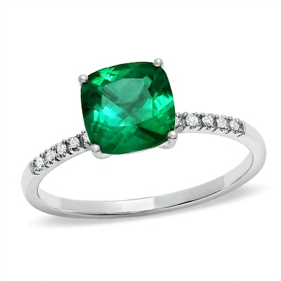 Zales Oval Lab-Created Emerald and Diamond Accent Swirl Frame Ring in Sterling Silver VxNXbsPv