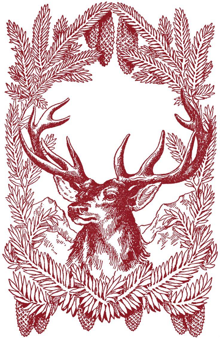 Vintage-Christmas-Deer-Images-GraphicsFairy-red.jpg (1500×2300)
