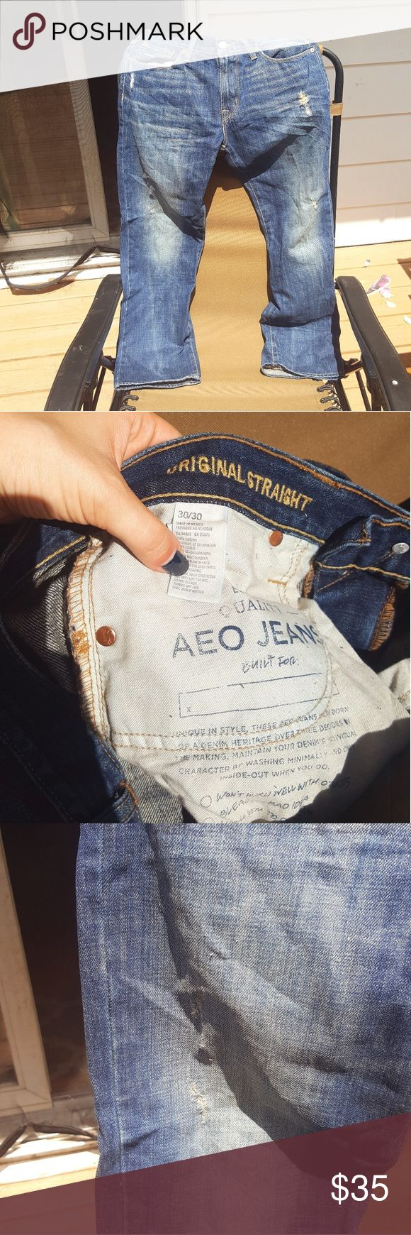 Men's American Eagle Original Straight jeans Size 30X30 distressed Straight cut jeans from AE Outfitters! These are NWOT, my husband did not like the tighter fit. They came originally distressed from the company. Excellent condition, never washed.  From a smoke-free home 🚭 Bundle items to save! 💰 American Eagle Outfitters Jeans Straight