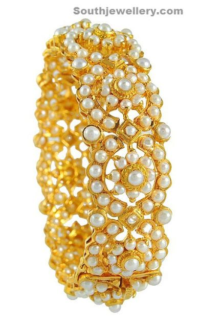 Broad antique kada studded with pearls