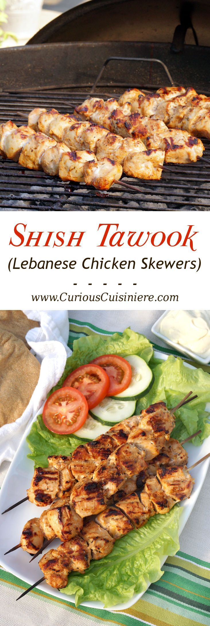 Lemon and garlic bring a burst of flavor to these grilled chicken skewers. Middle Eastern Shish Tawook will make a great addition to your next cookout!  | www.CuriousCuisiniere.com