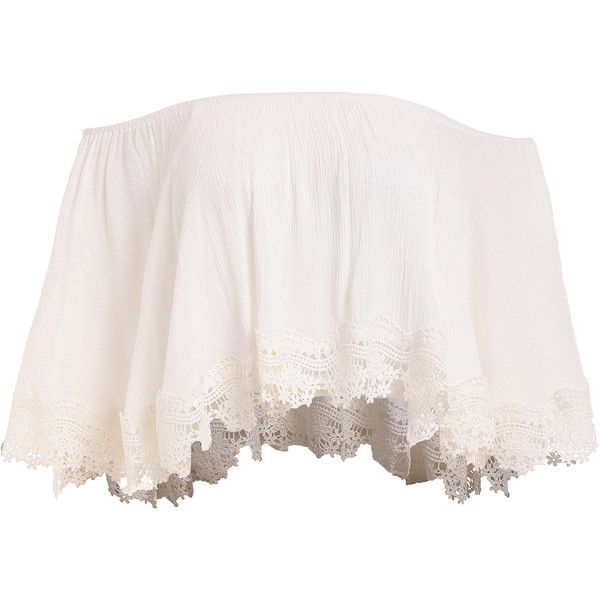 Lace Trimmed Layered Off-The-Shoulder Crop Top (£9.95) ❤ liked on Polyvore featuring tops, shirts, crop top, white, ruffle sleeve top, white collar shirt, white crop top, white off shoulder top and white ruffle shirt