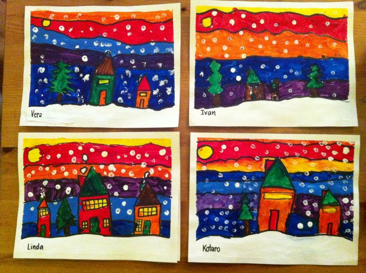 Kindergarten and Grade 1 Art in the style of Ted Harrison. A 6-step process over 10 days!