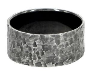 Spinless with square pattern 10mm ring or wedding ring in sterling silver - $280