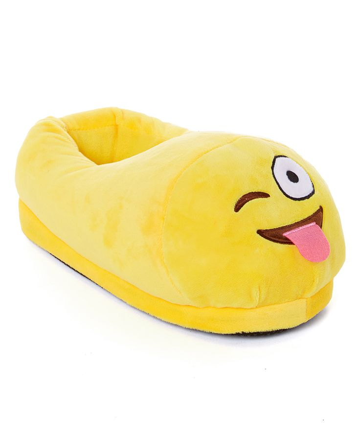 Yellow Tongue Out Wining Face Emoji Slipper