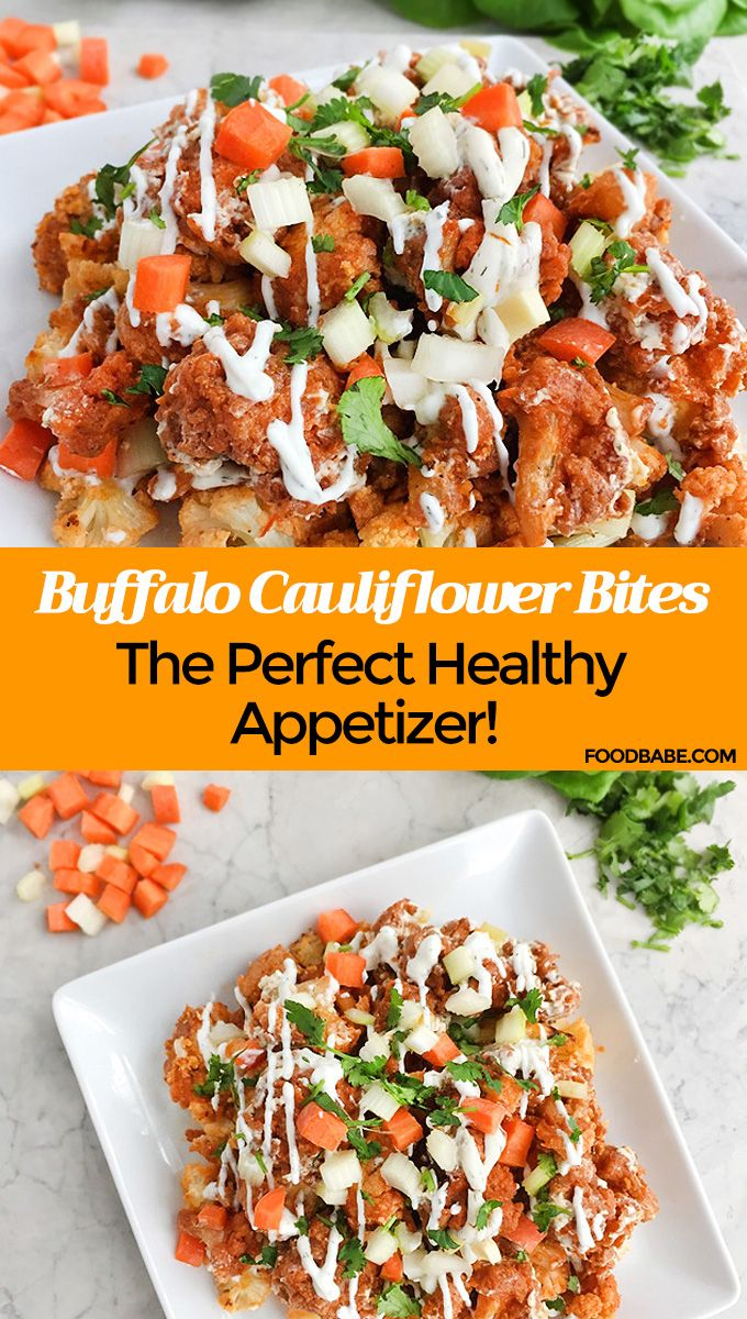 BRAND NEW RECIPE! Serve these Buffalo Cauliflower Bites next time you are having a party or watching a big game, they'd be great for all the big games coming up! #healthyappetizer #healthysnack #buffalocauliflower