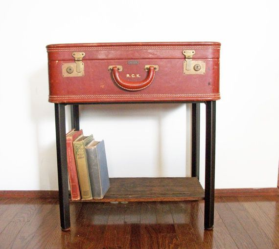 Ordinaire RESERVED For SARAH DANKE (Balance For Custom Table) Handmade Leather  Suitcase Side End Table With Storage Shelf