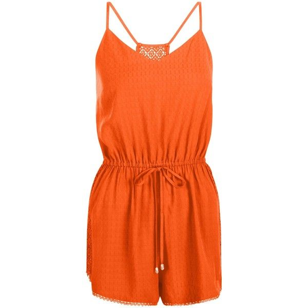New Look Bright Orange Strappy Lace Back Tie Waist Playsuit (£20) ❤ liked on Polyvore featuring jumpsuits, rompers, spicy orange, beach rompers, lace back romper, playsuit romper, orange romper and beach romper