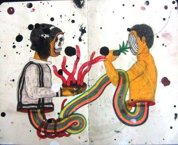 Artista: Ricardo Muñoz Izquierdo, Libreta dibujos 10, dibujos en hoja de libreta, 20x20cm, + PA.  Artist: Ricardo Muñoz Izquierdo, drawings Notepad 10 sheet notepad drawings , 20x20cm , + PA .