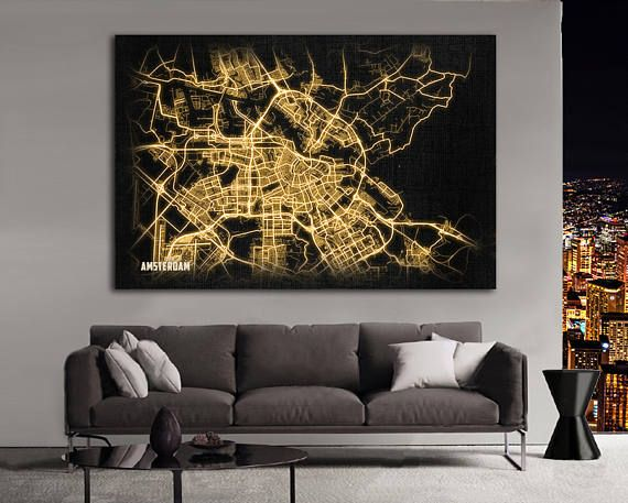 AMSTERDAM Netherlands Night Lights Map Large Horizontal Wall Art Map Amsterdam Netherlands Modern Art Neon City Street Map of Amsterdam ----------------------------------------- ♛ ARTWORK ★AMSTERDAM Netherlands oversized Giclee Night Lights Map Print. This Unique modern Night Light Map has wonderful glow effect imitation (not self-lighting - this is a print). To increase a glow effect of this map, we cover the surface with varnish. ★The glowing night lights city is an expressive addition to…