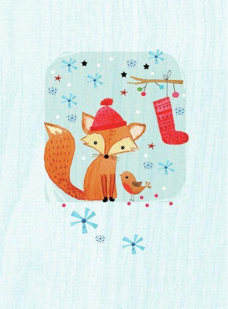 Veronica Vasylenko Xmas Cute Fox Robin Christmas