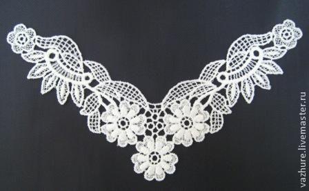 Купить Кружево элемент №31. - белый, кружево, вставка, кружево для отделки, кружевное платье, вискоза