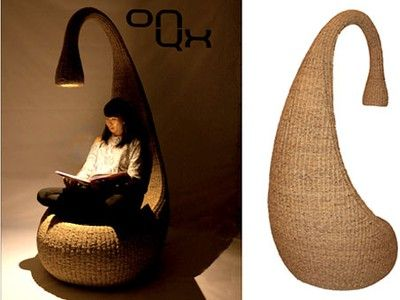 Water Hyacinth, Rattan, and LED Lighting: The Bulb Chair from Onyx