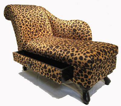 Leopard chaise w/ drawer...This looks just like mine without the drawer.... miss it so.  It was incredibly comfortable.