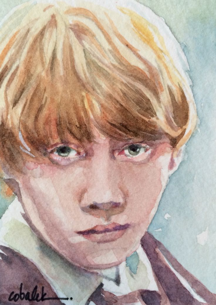 Ron Weasley - Tiny Harry Potter watercolour portrait 2.5 x 3.5 inches  by Christy Obalek