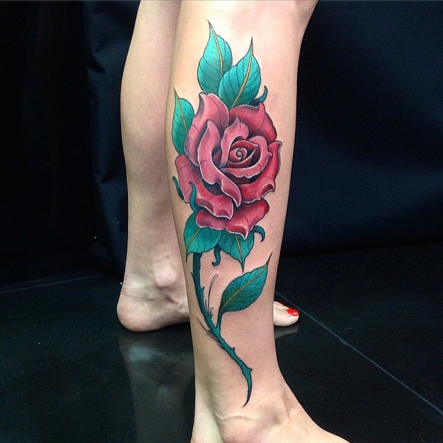 21 best painted roses images on pinterest art flowers for Rose with stem tattoo designs