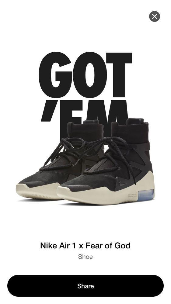 8345e547759a4 Fear Of God 1 Black Nike #fashion #clothing #shoes #accessories ...