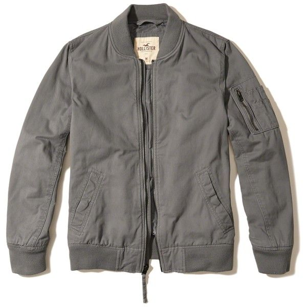 Hollister Twill Bomber Jacket (325 ILS) ❤ liked on Polyvore featuring men's fashion, men's clothing, men's outerwear, men's jackets, grey, mens utility jacket, mens twill jacket, mens faux leather jacket, mens grey bomber jacket and mens grey jacket