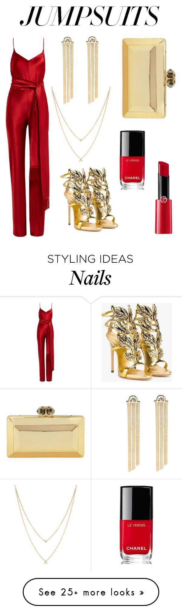 """Untitled #4"" by i-svaliavina on Polyvore featuring Galvan, Giuseppe Zanotti, EF Collection, Chanel, Giorgio Armani and jumpsuits"